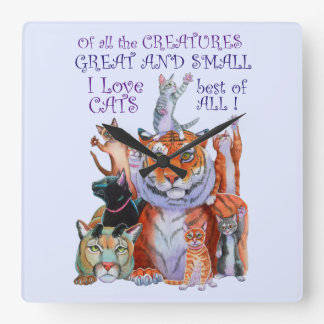 Of All the Creatures Great and Small Square Wall Clock