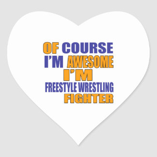 Of Course I Am Freestyle Wrestling Fighter Heart Sticker