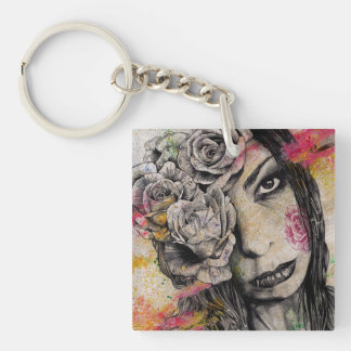 OF SUFFERING - dark gothic portrait, roses lady Double-Sided Square Acrylic Key Ring