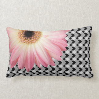 Off-centre pink daisy on B&W gingham plaid Lumbar Pillow