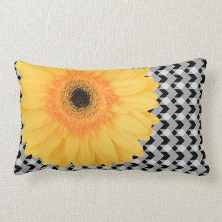Off-centre yellow daisy on B&W gingham plaid Lumbar Pillow
