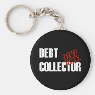 OFF DUTY DEBT COLLECTOR DARK BASIC ROUND BUTTON KEY RING