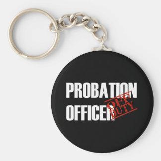 OFF DUTY PROBATION OFFICR DARK BASIC ROUND BUTTON KEY RING
