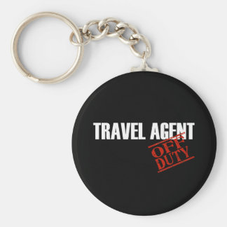 OFF DUTY TRAVEL AGENT DARK BASIC ROUND BUTTON KEY RING