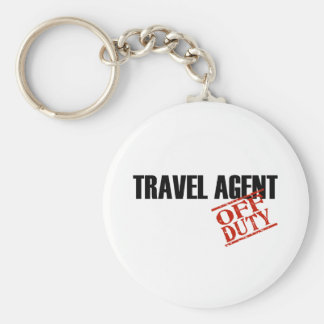 OFF DUTY TRAVEL AGENT LIGHT BASIC ROUND BUTTON KEY RING
