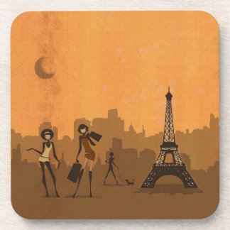 off to shop in Paris Beverage Coaster