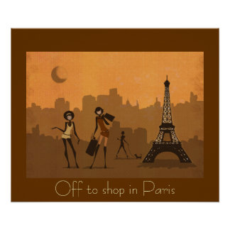 off to shop in Paris Poster
