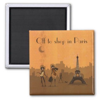 off to shop in Paris Square Magnet