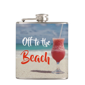 Off To The Beautiful Beach Hip Flask