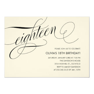 Off White Contemporary 18th Birthday Invitations