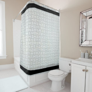 Off White Puzzle Shower Curtain