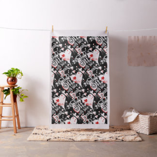 Off With Her Head Queen Of Hearts Black Fabric