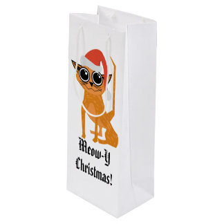 Offbeat Cartoon Tabby Cat Christmas Gift Bag