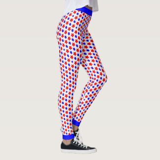 Offbeat Distorted Red and  Blue Stars Leggings
