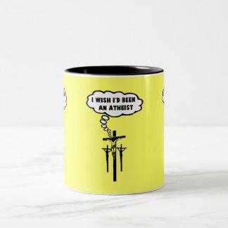 Offensive atheist coffee mug