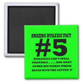 Offensive dyslexic fact square magnet