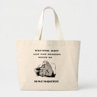 offensive humor Funny Macaque monkey Jumbo Tote Bag
