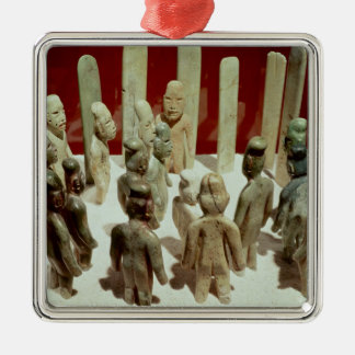 Offering of sixteen male figures, from La Silver-Colored Square Decoration