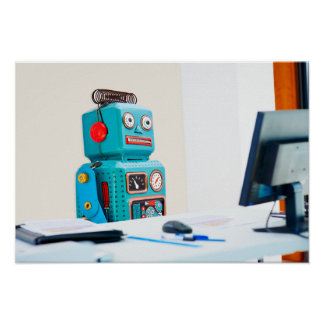 Office Bot Hard At Work Poster