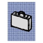 Office Briefcase or Travel Suitcase Sketch. Blue. Pack Of Chubby Business Cards