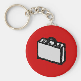 Office Briefcase or Travel Suitcase. Sketch on Red Key Ring