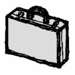 Office Briefcase or Travellers Suitcase. Sketch. Photo Sculptures