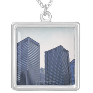 Office buildings in downtown Chicago, Illinois Silver Plated Necklace