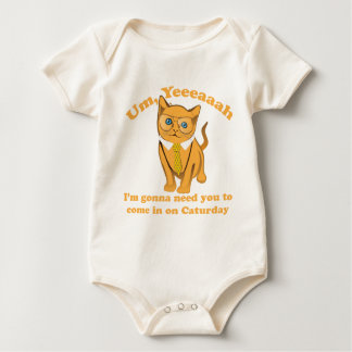 Office Cat Caturday Baby Bodysuit