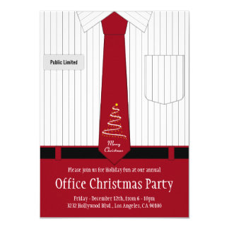 Office Christmas Party Shirt and Tie 11 Cm X 16 Cm Invitation Card