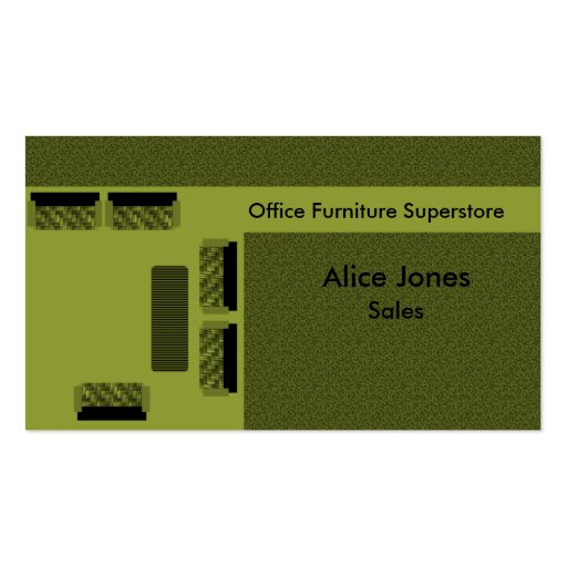 Office Furniture Business Card, Olive Green