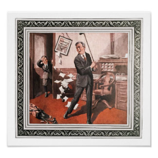 Office Golf Practice - 1923 Archival Print