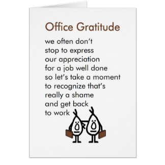 Office Gratitude - A funny Office Thank You Poem Card