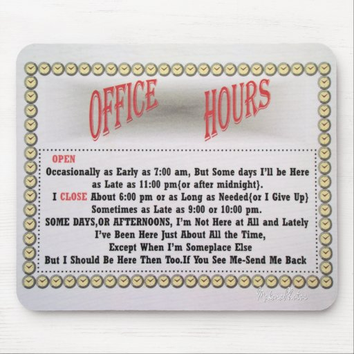 Office Hours Mousepad-white