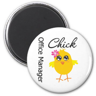 Office Manager Chick 6 Cm Round Magnet