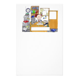 Office, Messy Male Personalized Cartoon Gift Stationery