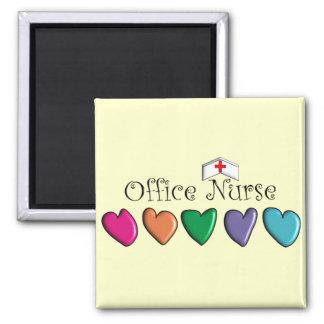 Office Nurse Multi-Color Hearts Design 3D Square Magnet