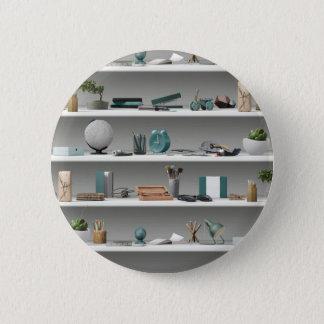 Office Shelves Wellness Teal 6 Cm Round Badge