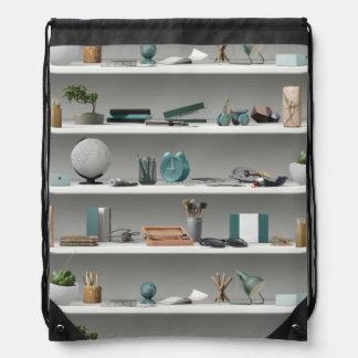 Office Shelves Wellness Teal Drawstring Bag