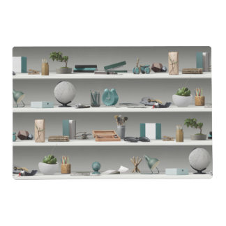Office Shelves Wellness Teal Laminated Placemat
