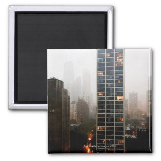 Office towers condos and Hancock Tower in fog Refrigerator Magnet