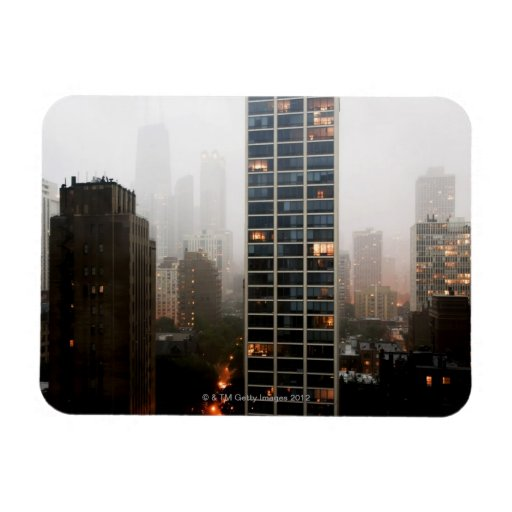 Office towers, condos and Hancock Tower in fog Rectangular Magnet