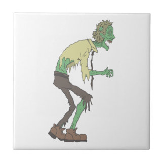 Office Worker Creepy Zombie With Rotting Flesh Out Ceramic Tile