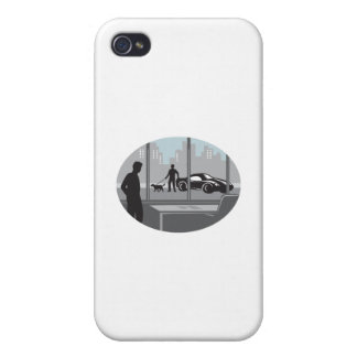Office Worker Looking Through Window Oval Woodcut iPhone 4/4S Case