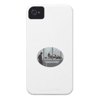 Office Worker Looking Through Window Oval Woodcut iPhone 4 Case-Mate Cases