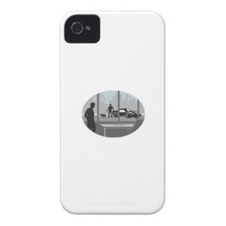 Office Worker Looking Through Window Oval Woodcut iPhone 4 Cover