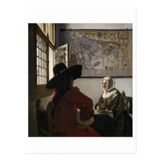 Officer and Laughing Girl by Johannes Vermeer Postcard