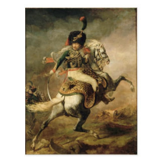 Officer of the Chasseurs charging on horseback Postcard