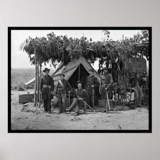 Officers of Company F at Arlington 1865 Poster