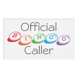 Official BINGO Caller in Colorful Lettering Name Tag