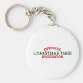 Official Christmas Tree Decorator (Red) Basic Round Button Key Ring